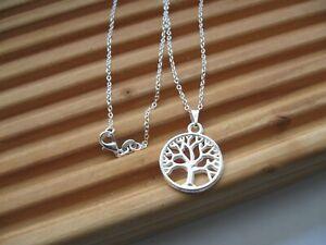 Halskette, 925 Silber plat. + Anhänger Lebensbaum, Baum des Lebens, NEU⭐⭐⭐⭐⭐