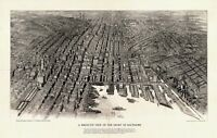 MAP AERIAL BIRDS EYE VIEW BALTIMORE MARYLAND 1912 LARGE ART PRINT POSTER LF2529