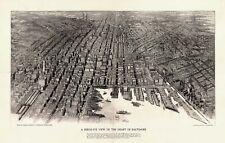 Map Aerial Birds Eye View Baltimore Maryland 1912 Large Art Print Poster Lf2529