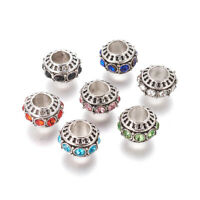 50pcs Tibetan Alloy Rhinestone European Large Hole Beads Rondelle Spacer 10~11mm