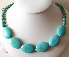 """Turquoise Necklace 18"""" Aaa Natural 6mm &13X18mm Blue Turkey"""