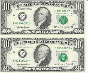 1995 $10 Star * Uncut Sheet of 2 Atlanta District Serial F03500007* & F03510007*