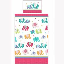 PATCHWORK ELEPHANT SINGLE DUVET COVER SET PINK WHITE BEDDING