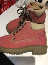 Girls Pink Leather Cherokee Lace Up Fashion Boots Uk 11, EUR 29
