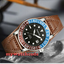 42mm Parnis black dial Sapphire glass leather Miyota automatic mens watch P429
