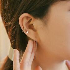 8cm Long Women Simple Chain Threader Earrings Ear Stud Ear Cord Fashion Jewelry