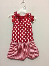 """Simply Wag """"DRESS Red and White Polka Dot Striped Ruffle & Bow-Bling Medium"""