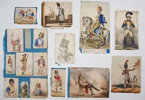 Group of 19th century watercolours, lithographs & drawings Napoleonic soldiers