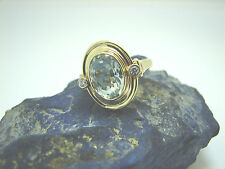 Damen Brillant Aquamring 585 Gelbgold 14 Karat Diamantring Größe 56 Goldring