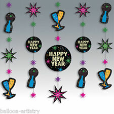 5 Happy New Years Marquee Glitter Party Hanging Glitter String Decorations