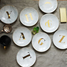 Gold Monogrammed Alphabet Initial Letter Ceramic Decorative Plate Ring Dish