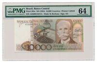 BRAZIL banknote 10.000 Cruzeiros 1984 PMG MS-64