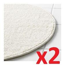 2x IKEA BADAREN Non-Slip Microfibre Round Bath Mat Bathmat Bathroom Rug in White