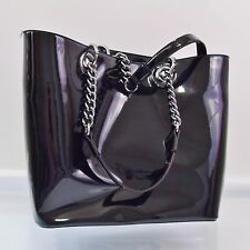 DKNY Black Patent Leather Tote Large Shopper Purse Handbag $185