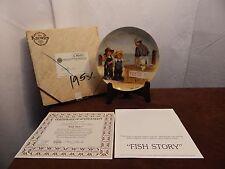 "Edwin Knowles Jeanne Down ""Fish Story"" Collector Plate w/ Coa & Original Box"