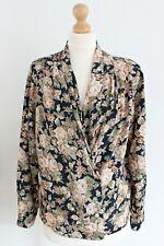 Vintage Floral Print Floaty Shirt Blouse Wrap Summer Holiday Tea Size 14