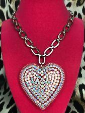 "Luly Lu ""Powder"" Vintage HUGE Lucite Heart Iridescent White Swarovski Necklace"