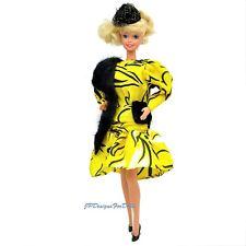 Vintage Barbie Yellow Black Dress Black Faux Fur Boa Fashion Outfit  NO DOLL