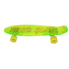 Short Board Transparent Skateboard Cruiser Light Up Wheels - Clear Green