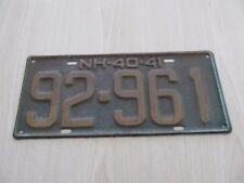 1940-41 New Hampshire Auto Licence Plate