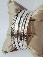 Lot of 6 Vintage TAXCO Sterling Silver 925 Bangle Bracelets, 57.8 grams.