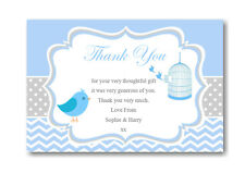 10 Personalised Thank You Cards Baby Shower , Blue Gifts Birthdays Ect Ref BST2