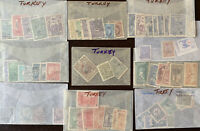 TURKEY STAMP LOT IN GLASSINES INCLUDES OVERPRINTS 1800s, EARLY 1900s