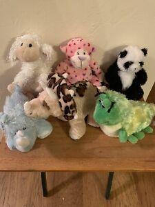 Webkins Plush Lot Of 6 ~ Rare Caterpillar!! Lamb, Hippo, Panda, Triceratops, etc