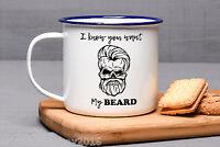 Beard Sugar Skull Enamel Mug Funny Birthday Gift For Him Mens Hair Grooming