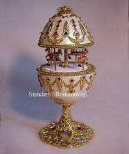 Russian Imperial Empress Musical White & Gold Carousel Egg & pendant Necklace