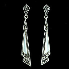 Sterling Silver Vintage Style Marcasite & Mother of Pearl Drop Earrings RRP $120