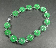 Gold Plate CHINESE Green JADE Bead Beads Circle Donut Bangle Bracelet 237154 US