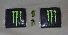 1 Pair embroidered Monster Energy Wrist bands sweatbands Plus 2 hat shirt pins
