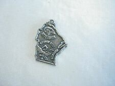 Vintage Sterling Silver Wisconsin State Charm, signed Kachina pictorgraph, 1.86g
