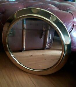 "Vintage Brass Style Porthole Bathroom Wall Mirror  37cm 14"""