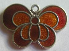 Vintage Norway Scandinavian Silver Enamel Butterfly Charm ~ David Andersen