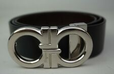 Salvatore Ferragamo Black/Brown Reversible Double Gancini Leather Belt 41""