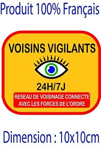 Autocollant alarme voisin vigilant domestique stickers - video surveillance