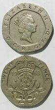 Great British England U.K  20 pence 1985-1997 20mm co-ni coin