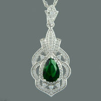 Brass CZ 18K White Gold Plated Green Emerald Pear Cut Pendant Necklace Chain