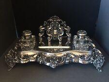 Sterling Silver Inkstand KING JOHN V Style Custom Desk Set ** ONE OF A KIND **