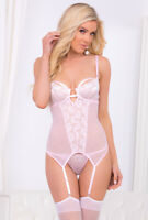 Escante baby pink sheer lace underwire bustier set