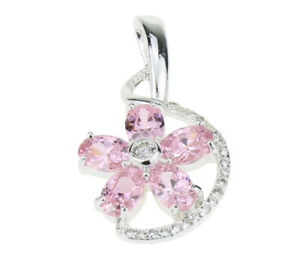 Oval Cut Pink Crystal 18K White Gold Filled Ladies Pendants Necklace for Party
