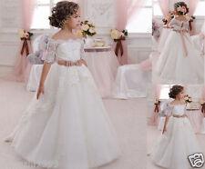 Flower Girl Dresses White Applique Christening Bridesmaid Pageant Gown Communion