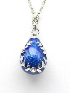 Blue Egg Pendant Necklace with crystals by Keren Kopal