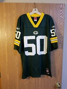 Green Bay Packers A.J. Hawk #50 Reebok Jersey Adult M