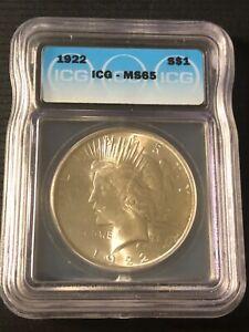1922 Silver Peace Dollar ICG MS 65      NICE COIN !!!