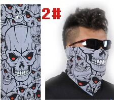 Men Grey Skull Face Pattern Neck Shield Seamless Bandana Mask Wind Protector