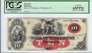 U.S.A. North Carolina, The Bank of Washington $10 Aa, ____ 18__ PCGS65PPQ