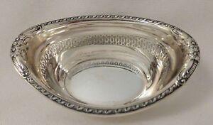 "Fancy Gorham Floral Pierced Sterling Nut Cup A12655 - circa 1925 - 3 1/4"""
